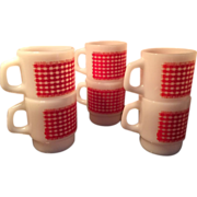 Fire King Red Gingham Check Printed Coffee Mugs