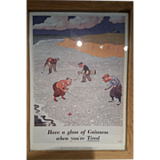 "SOLD Guinness poster by H.M. Bateman ""Golfing predicament""  1935"