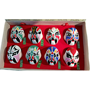Set of 8 hand-painted miniature clay masks with Opera facial make-up Beijing China