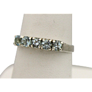 Sterling Silver Band Ring With 5 Light Blue Stones - Size 6.25