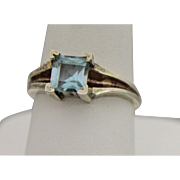 Sterling Silver Ring With Light Blue Stone - Size 7.5