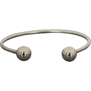 Sterling Silver Ball-End Cuff Bangle Bracelet