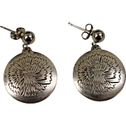 .925 Kirk Sterling Silver Floral Disc Earrings