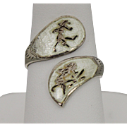 Siam Sterling Silver Wrap Ring With White Enamel And Dancers - Size 7 1/4
