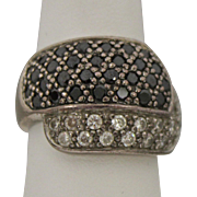 Sterling Silver Band Ring With Black and White Stones
