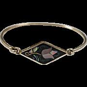 .925 Sterling Silver Bangle Bracelet w/ Green Enamel & Mother of Pearl Inlay
