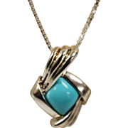 """.925 Sterling Silver 18"""" Rhombus Shaped Turquoise Colored Stone Pendant Necklace"""