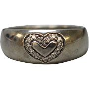 Sterling Silver Band Ring with Heart and Stones - Size 9.25