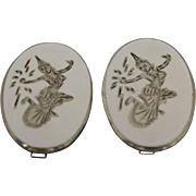 Siam Sterling Silver Clip-On Earrings With White Enamel & Dancers