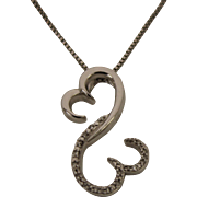 Jane Seymour Sterling Silver Open Heart Box Link Necklace With Diamonds