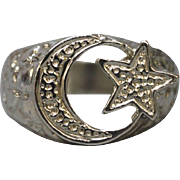 Sterling Silver Moon and Star Band ring - Size 10.5