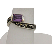 Sterling Silver Wrap Ring With Purple Stone and 7 Marcasites - Size 7.5
