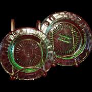 SALE Hazel Atlas Uranium Glass Ashtray Pair