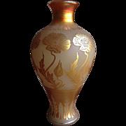 Antique Art Nouveau Gold Aurene Etched Lamp / Vase