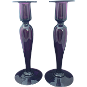 Pairpoint  Art Glass Amethyst Candlesticks