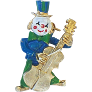 SALE Colorful Clown playing Cello Vintage Pin , Heavy Brooch