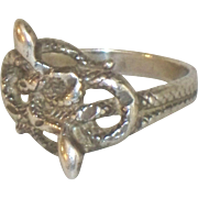 Vintage Double Snake Sterling Ring Silver Serpent