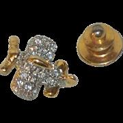 SALE Tiny Jeweled Prop Plane Tie Tack , Vintage Airplane Lapel Pin , Aviation Tie Tac