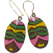 SALE Carved Wooden Tribal Mask Painted Earrings