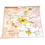 Paris Area School Map--Different Vintage French Map on Each of 2 Sides!