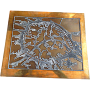 REDUCED Printing Plate in Copper and Lead of Paris, Vintage, Large, Unique and Fascinating