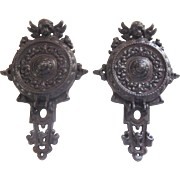 SALE French Antique Hinged Candle Holders, A Pair in Cast Iron