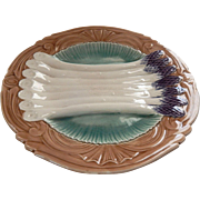 French Antique Asparagus Plate in Majolica by Orchies