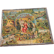 SALE SAUSSINE World Atlas Picture Puzzle Antique Toy Game