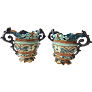 SALE Pair of French Majolica Jardinieres