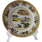 French Antique Rebus Plate Dessert Plate in Polychrome from Choisy-le-Roi c.1830