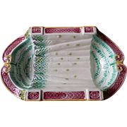 French Majolica / Barbotine Asparagus Server from Salins