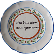 """LOVE FOR LOVE"" French Country Plate 'Nevers' from 1800s"
