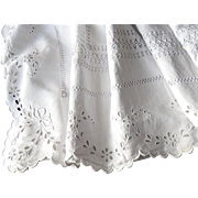 SALE Fine French Sheet in Linen with Exceptional Embroidery, Scalloped Edge and Monogram
