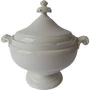 French Antique Limoges White Porcelain Soup Tureen c1890 by maker 'Jean Pouyat'