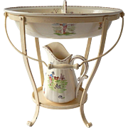 Antique French Child's Washstand Hand Painted Faience Pitcher and Basin in a Stand