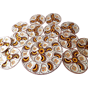 SALE French Vintage Quimper Hand-painted Oyster Plates Set of 12 with Platter