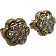 SOLD Estate Diamond Gold Stud Earrings