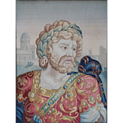 SOLD Continental School Embroidery of King Solomon, 19thC