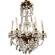 Louis XVI-Style Cut Glass Fixture, early 20th Century