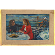 Two Women on a Boat by Robert Phillip, American, 1895-1981