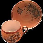 SALE Japanese Kutani Egg Shell Porcelain Cup and Saucer