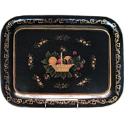 Vintage Hand Painted Tole Tray With Classic Folk Art Motifs