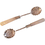 Vintage Silver Plate and Mother of Pearl Condiment Spoons With Bright Cut and Repousse ...