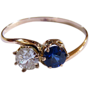 SALE Victorian 14 Karat Rose Gold, Diamond and Sapphire Ring