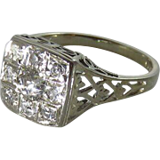Art Deco 18K White Gold Diamond Cluster Ring