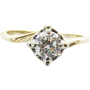 Vintage 14k Yellow & White Gold Old European-Cut Diamond Ring