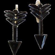 SALE Victorian French Jet Arrow Earrings