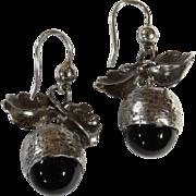 Victorian Sterling Silver French Jet Acorn Earrings