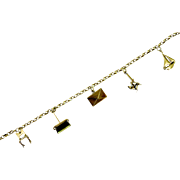 Art Deco Sterling Silver Charm Bracelet