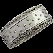 Victorian Sterling Silver Beaded Bangle Bracelet